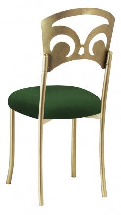 Gold Fleur de Lis with Green Velvet Cushion (1)