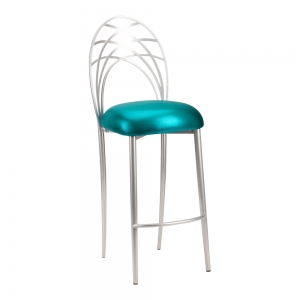 Silver Piazza Barstool with Metallic Teal Stretch Knit Cushion (2)