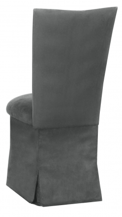 Charcoal Suede Chair Cover and Cushion and Skirt (1)