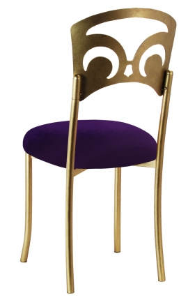 Gold Fleur de Lis with Eggplant Velvet Cushion (1)