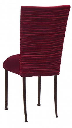 Chloe Cranberry Velvet Chair Cover and Cushion on Mahogany Legs (1)