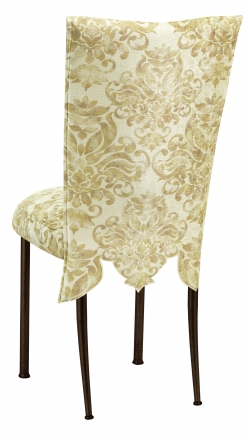 Ravena Chenille Empire Cut Chair Cover with Boxed Cushion on Brown Legs (1)