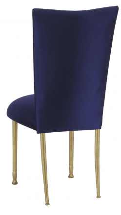 Navy Stretch Knit Chair Cover with Cushion on Gold Legs (1)