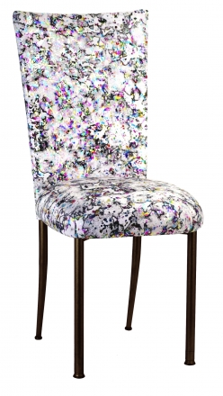White Paint Splatter Chair Cover and Cushion on Brown Legs (2)