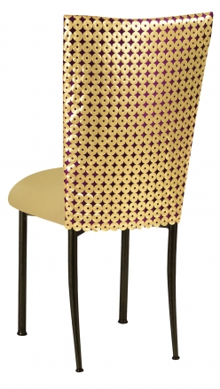 Dragon Eyes Chair Cover and Gold Knit Cushion on Brown Legs (1)
