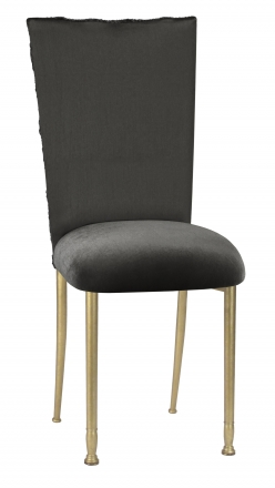 Pewter Circle Ribbon Taffeta Chair Cover with Charcoal Suede Cushion on Gold Legs (2)