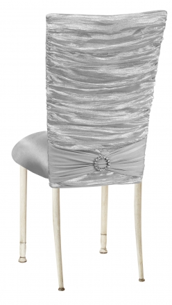 Silver Demure Chair Cover with Jeweled Band and Silver Stretch Knit Cushion on Ivory Legs (1)