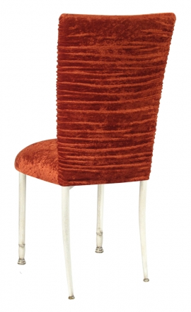 Chloe Paprika Crushed Velvet Chair Cover and Cushion on Ivory Legs (1)