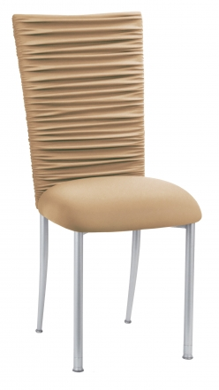 Chloe Beige Stretch Knit Chair Cover and Cushion on Silver Legs (2)