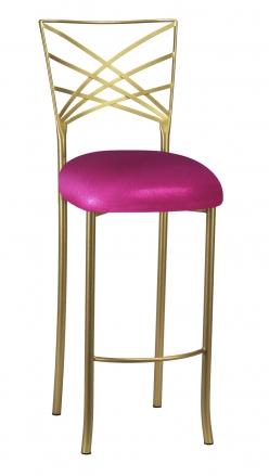 Gold Fanfare Barstool with Metallic Fuchsia Knit Cushion (2)