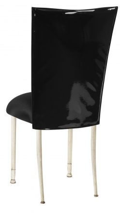 Black Patent Leather Chair Cover with Black Knit Stretch Knit Cushion on Ivory Legs (1)