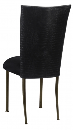 Matte Black Croc Chair Cover with Black Stretch Knit Cushion on Brown Legs (1)