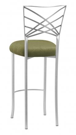 Silver Fanfare Barstool with Olive Velvet Cushion (1)