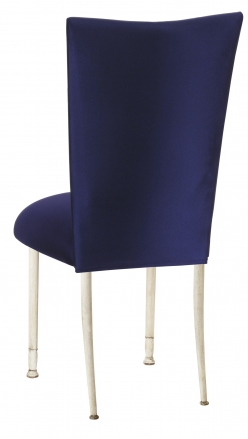 Navy Stretch Knit Chair Cover with Cushion on Ivory Legs (1)