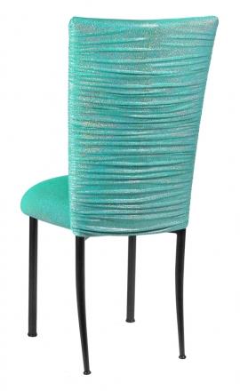 Chloe Mermaid Stretch Knit Chair Cover and Cushion on Black Legs (1)