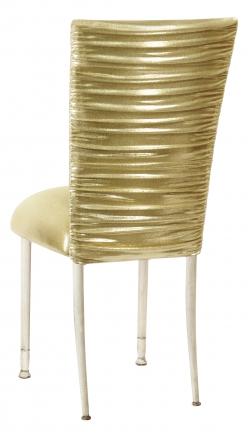 Chloe Metallic Gold Stretch Knit Chair Cover and Cushion on Ivory Legs (1)