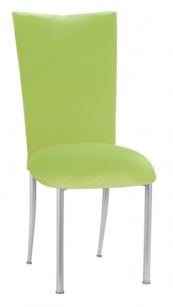 Lime Green Velvet Chair Cover and Cushion on Silver Legs (2)