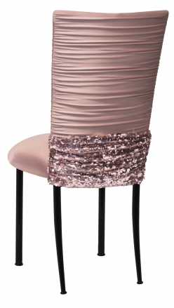 Chloe Blush Chair Cover with Bedazzle Band and Blush Stretch Knit Cushion on Black Legs (1)