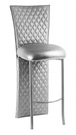 Silver Quilted Barstool Jacket with Silver Leatherette Boxed Cushion on Silver Legs (2)