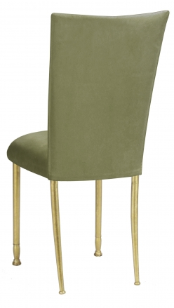Sage Suede Chair Cover and Cushion on Gold Legs (1)