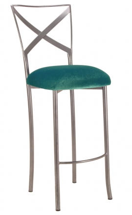 Simply X Barstool with Turquoise Velvet Cushion (2)