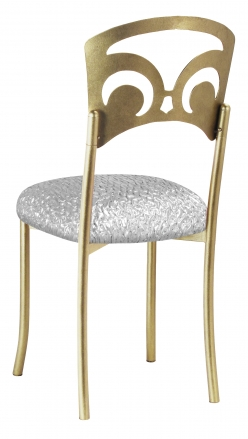 Gold Fleur de Lis with Atomic Silver Stretch Knit Cushion (1)