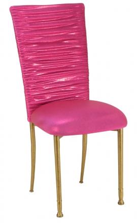 Chloe Metallic Fuchsia Stretch Knit Chair Cover and Cushion on Gold Legs (2)
