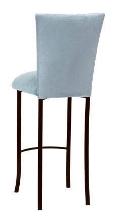 Ice Blue Suede Barstool Cover and Cushion on Brown Legs (1)