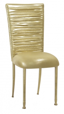 Chloe Metallic Gold Stretch Knit Chair Cover and Cushion on Gold Legs (2)