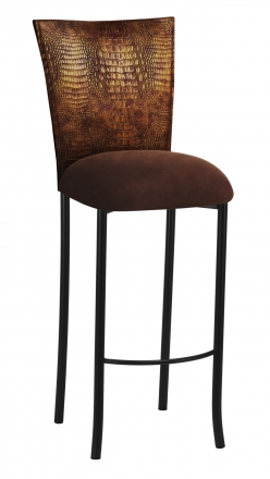 Bronze Croc Barstool Cover with Chocolate Suede Cushion on Black Legs (2)