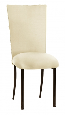 Ivory Rosette Chair Cover with Ivory Stretch Knit Cushion on Brown Legs (2)
