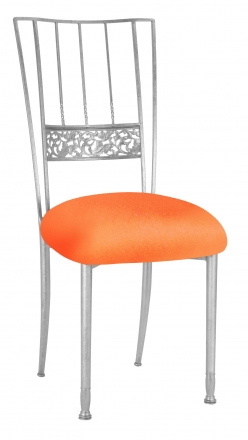 Silver Bella Fleur with Tangerine Stretch Knit Cushion (2)