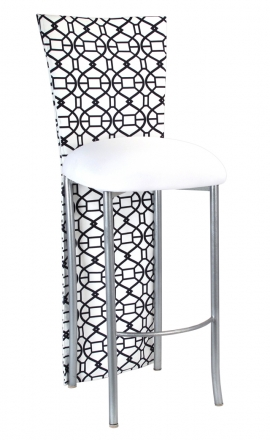Black and White Kaleidoscope Barstool Jacket with White Suede Cushion on Silver Legs (2)