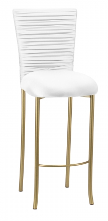 Chloe White Stretch Knit Barstool Cover with Rhinestone Accent Band and Cushion on Gold Legs (2)