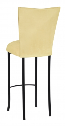 Buttercup Suede Barstool Cover and Cushion on Black Legs (1)