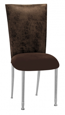 Durango Chocolate Leatherette with Chocolate Suede Cushion on Silver Legs (2)