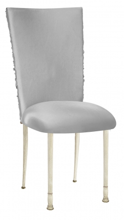 Silver Demure Chair Cover with Jeweled Band and Silver Stretch Knit Cushion on Ivory Legs (2)
