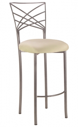 Silver Fanfare Barstool with Ivory Stretch Knit Cushion (2)
