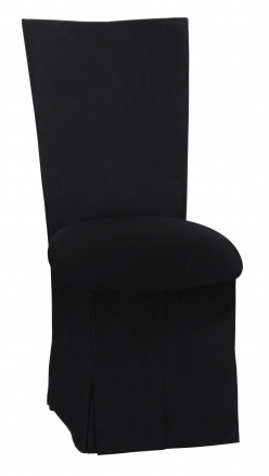Black Suede Chair Cover with Jewel Belt, Cushion and Skirt (2)