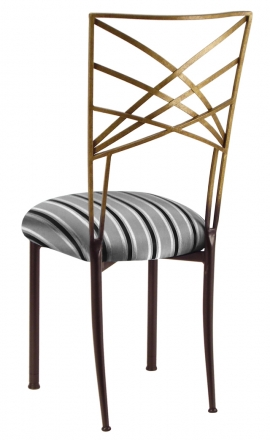 Two Tone Gold Fanfare with Charcoal Stripe Cushion (1)