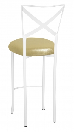 Simply X White Barstool with Metallic Gold Stretch Knit (1)