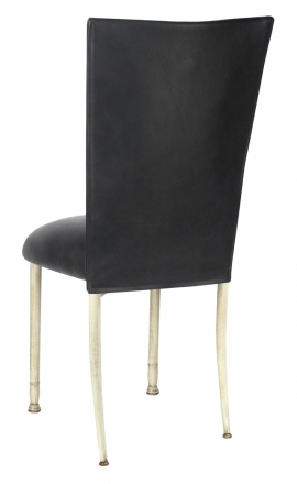 Black Leatherette Chair Cover and Cushion on Ivory Legs (1)