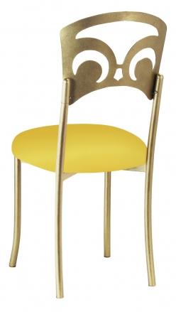 Gold Fleur de Lis with Bright Yellow Stretch Knit Cushion (1)