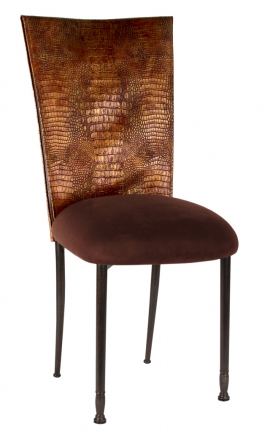 Bronze Croc Chair Cover with Chocolate Suede Cushion on Mahogany Legs (2)