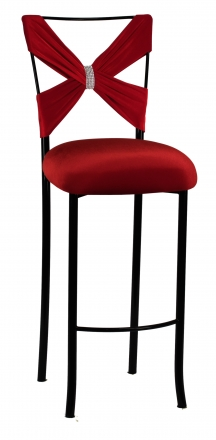 Blak. Barstool with Red Velvet Criss Cross and Rhinestone Accent (2)