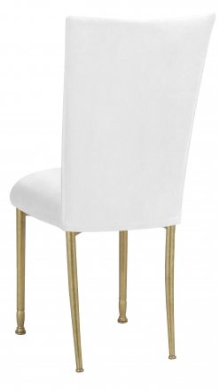 White Suede Chair Cover and Cushion on Gold Legs (1)
