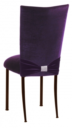 Deep Purple Velvet Chair Cover with Rhinestone Accent and Cushion on Brown Legs (1)