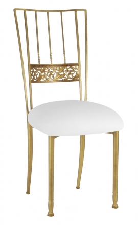 Gold Bella Fleur with White Leatherette Cushion (2)