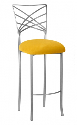 Silver Fanfare Barstool with Canary Suede Cushion (2)
