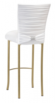 Chloe White Stretch Knit Barstool Cover with Rhinestone Accent Band and Cushion on Gold Legs (1)